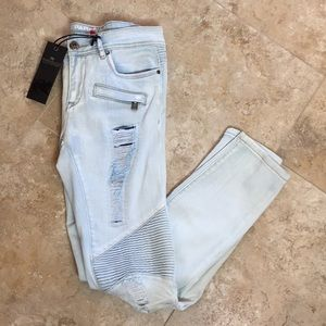 Parasuco Moto Jeans Destroyed Style Lightwash NWT